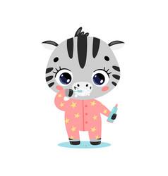 Flat doodle cute cartoon zebra brushing teeth vector
