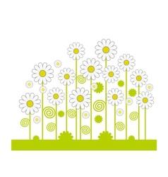 Green field flowers vector