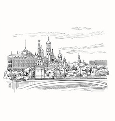 hand drawing moscow-1 vector image