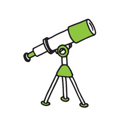 hand drawn telescope doodle icon vector image