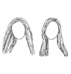 Hand drawn wig Hair sketch vector image