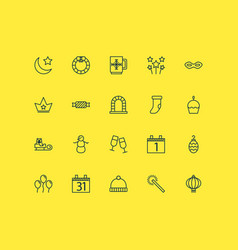 happy icons set with night calendar month vector image