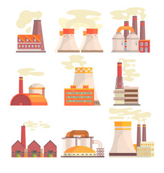 industrial factory buildings set modern power vector image