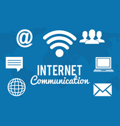 Internet communication set icons vector