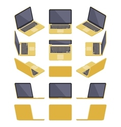 Isometric golden laptop vector image