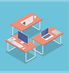 Isometric office workplace with laptop and pc vector