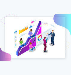 Isometric web banner data analisis and statistics vector