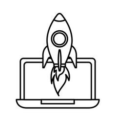 Laptop computer rocket startup success vector