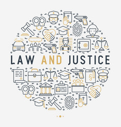 law and justice concept in circle vector image