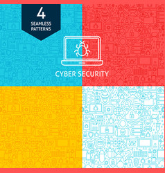 line cyber security patterns vector image