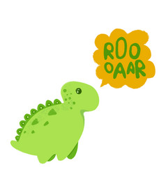 little dinosaur and lettering roooaar vector image