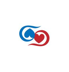 Love heart couple swirl logo vector