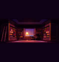 luxury old library interior at night empty room vector image