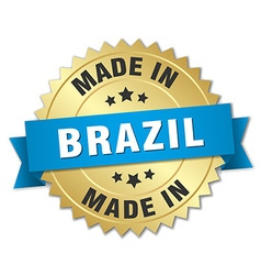 Made in Brazil gold badge with blue ribbon vector
