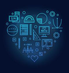 math heart blue on dark vector image