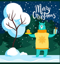 merry christmas bear with cake and present card vector image