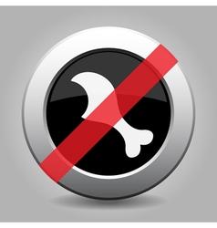Metallic button gnawed chicken leg ban icon vector