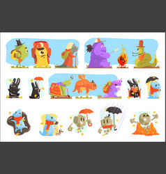 Monsters hiking and camping funky creatures vector