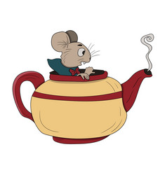 Mouse in a teapot alice in wonderland vector