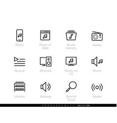 music stream service icons in web radio vector image