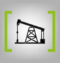 oil drilling rig sign black scribble icon vector image vector image