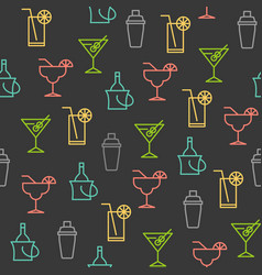 outline beverage summer and party theme seamless vector image