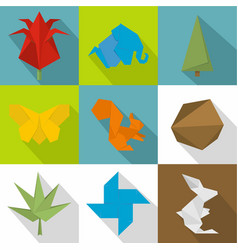 Paper bauble icons set flat style vector