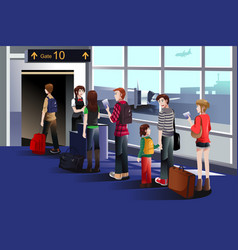 People boarding the airplane at the gate vector