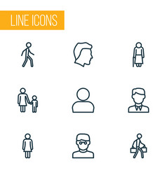 People icons line style set with bags child vector