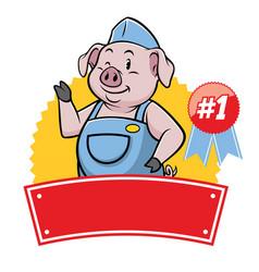pig mascot cartoon in waitress uniform vector image