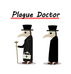 plague doctor side view in flat vector image