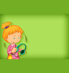 plain background with girl using headphone vector image