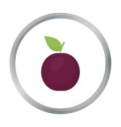 Plum icon cartoon Singe fruit icon vector