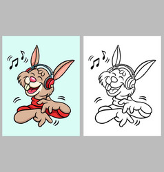 Rabbit hearing music cartoon character vector