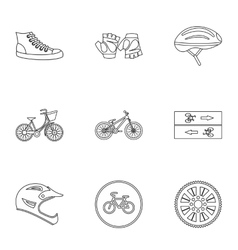 Race cycling icons set outline style vector image