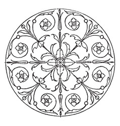Renaissance circular panel is a majolica tile vector