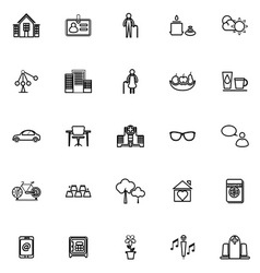 Retirement community line icons on white vector
