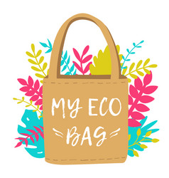reusable eco shopping bag zero waste and save the vector image