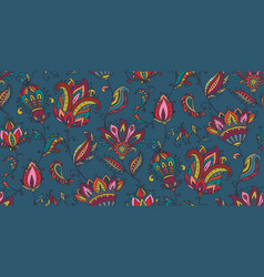 Seamless pattern with hand drawn paisley vector