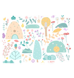 set doodle floral elements autumn collection vector image