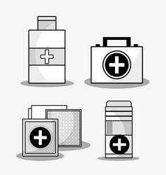 set first aid kit with treatment tools vector image