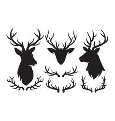 set silhouettes deer and deer antlers deer vector image