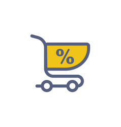 shopping cart flat icon sign symbol vector image