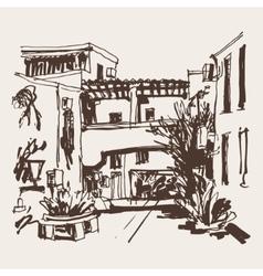 sketching of street in hotel complex Slovenska vector image