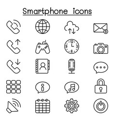 smart phone icon set in thin line styleh vector image