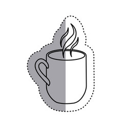 sticker shading silhouette mug coffee with smoke vector image