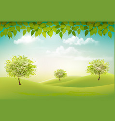 Summer nature background with a green trees and vector