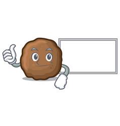 Thumbs up with board meatball character cartoon vector