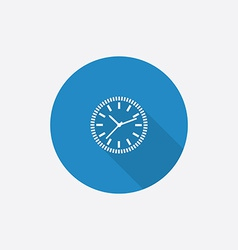 time circle Flat Blue Simple Icon with long shadow vector image