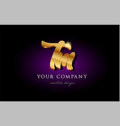 Tm t m 3d gold golden alphabet letter metal logo vector